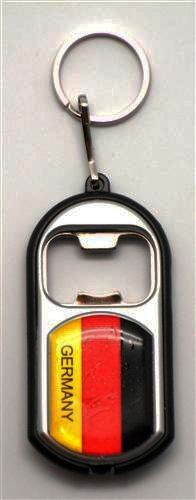 GERMANY COUNTRY FLAG LED LIGHT & BOTTLE OPENER METAL KEYCHAIN .. NEW AND IN A PACKAGE