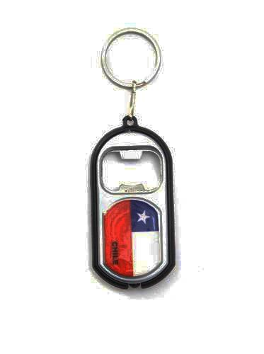 CHILE COUNTRY FLAG LED LIGHT & BOTTLE OPENER METAL KEYCHAIN .. NEW AND IN A PACKAGE