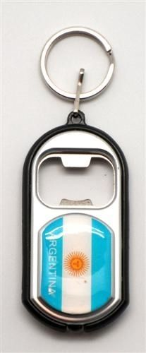 ARGENTINA COUNTRY FLAG LED LIGHT & BOTTLE OPENER METAL KEYCHAIN .. NEW AND IN A PACKAGE