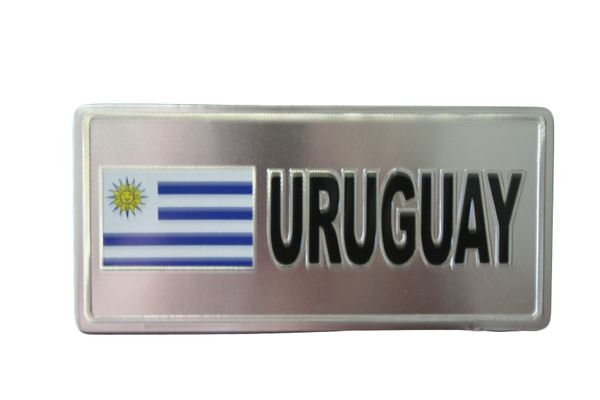 "URUGUAY COUNTRY FLAG SILVER SMALL METALLIC LICENSE PLATE DECAL STICKER EMBLEM .. 3"" X 6.5"" INCHES .. HIGH QUALITY ..NEW AND IN A PACKAGE"