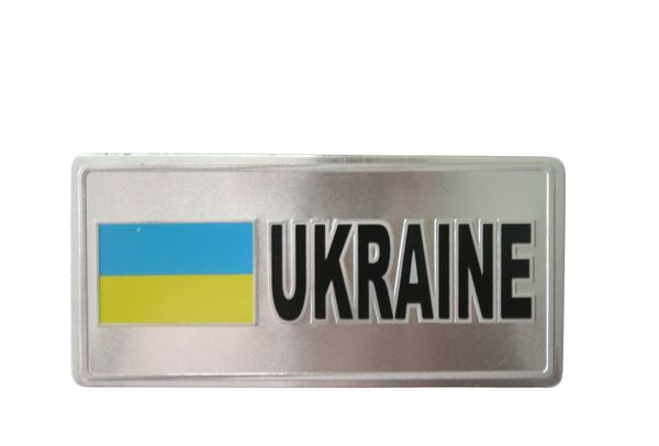 "UKRAINE COUNTRY FLAG SILVER SMALL METALLIC LICENSE PLATE DECAL STICKER EMBLEM .. 3"" X 6.5"" INCHES .. HIGH QUALITY ..NEW AND IN A PACKAGE"