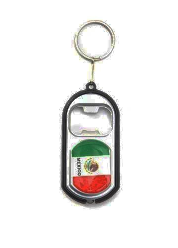 MEXICO COUNTRY FLAG LED LIGHT & BOTTLE OPENER METAL KEYCHAIN .. NEW AND IN A PACKAGE