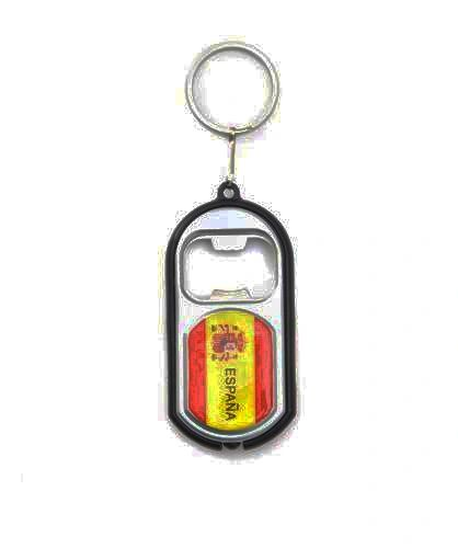 ESPANA SPAIN COUNTRY FLAG LED LIGHT & BOTTLE OPENER METAL KEYCHAIN .. NEW AND IN A PACKAGE