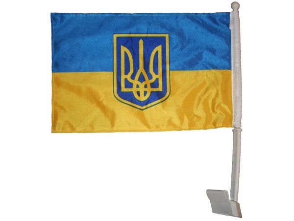 "UKRAINE WITH TRIDENT COUNTRY CAR HEAVY DUTY FLAG ..12"" X 18"" INCHES .. NEW AND IN A PACKAGE"