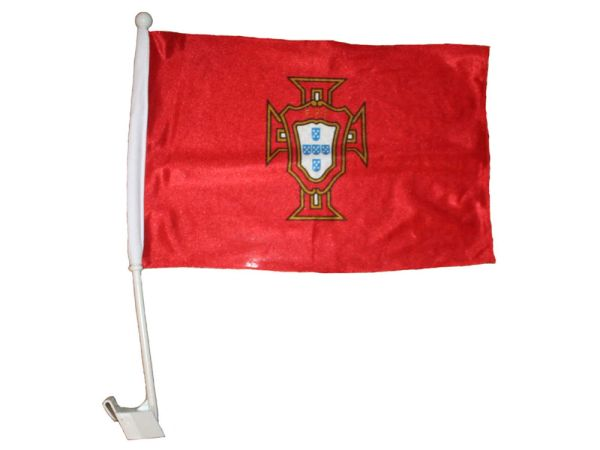 """PORTUGAL RED FPF LOGO FIFA WORLD CUP CAR HEAVY DUTY FLAG ..12"""" X 18"""" INCHES .. NEW AND IN A PACKAGE"""