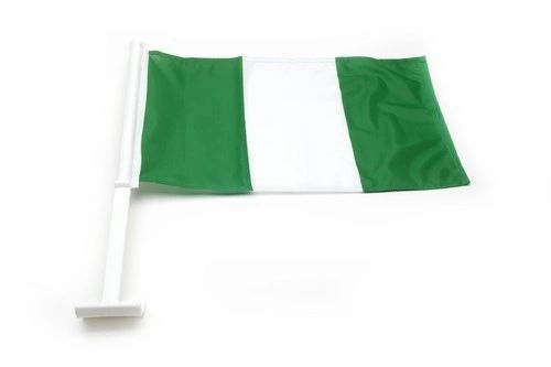 "NIGERIA COUNTRY CAR HEAVY DUTY FLAG ..12"" X 18"" INCHES .. NEW AND IN A PACKAGE"