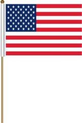 "USA LARGE 12"" X 18"" INCHES COUNTRY STICK FLAG ON 2 FOOT WOODEN STICK .. NEW AND IN A PACKAGE."