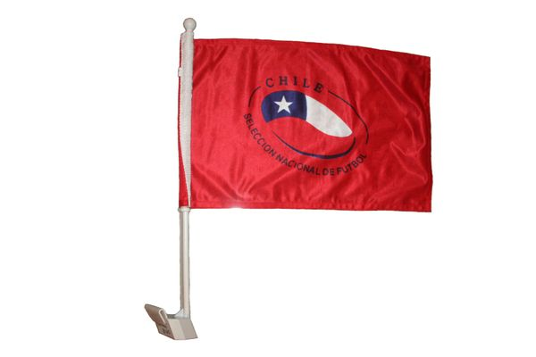 "CHILE SELECCION NACIONAL DE FUTBOL COUNTRY CAR HEAVY DUTY FLAG .. 12"" X 18"" INCHES .. NEW AND IN A PACKAGE"