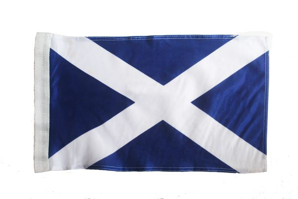 "SCOTLAND ST. ANDREW CROSS COUNTRY HEAVY DUTY FLAG WITH SLEEVE WITHOUT STICK ..12"" X 18"" INCHES .. NEW AND IN A PACKAGE"