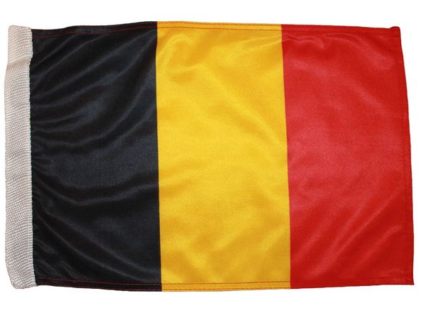 """BELGIUM COUNTRY HEAVY DUTY FLAG WITH SLEEVE WITHOUT STICK ..12"""" X 18"""" INCHES .. NEW AND IN A PACKAGE"""