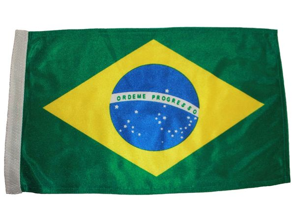 "BRASIL COUNTRY HEAVY DUTY FLAG WITH SLEEVE WITHOUT STICK .. 12"" X 18"" INCHES .. NEW AND IN A PACKAGE"