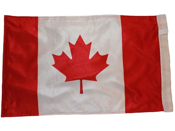"""CANADA COUNTRY HEAVY DUTY FLAG WITH SLEEVE WITHOUT STICK .. 12"""" X 18"""" INCHES .. NEW AND IN A PACKAGE"""