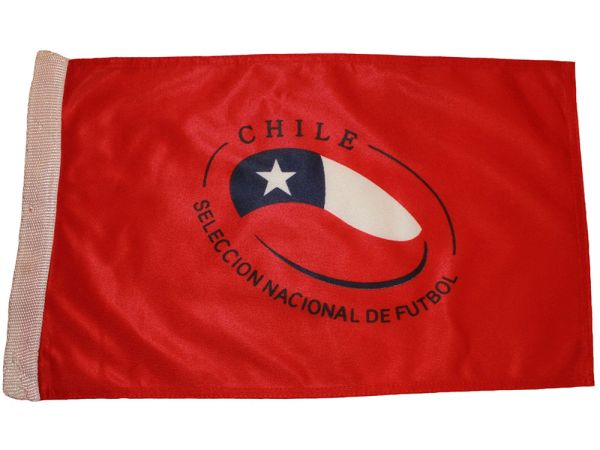 "CHILE SELECCION NACIONAL DE FUTBOL HEAVY DUTY FLAG WITH SLEEVE WITHOUT STICK ..12"" X 18"" INCHES .. NEW AND IN A PACKAGE"