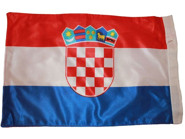 """CROATIA COUNTRY HEAVY DUTY FLAG WITH SLEEVE WITHOUT STICK .. 12"""" X 18"""" INCHES .. NEW AND IN A PACKAGE"""