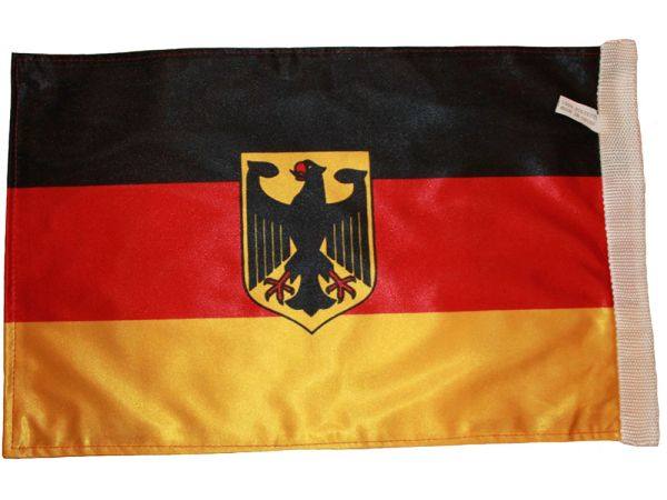 "GERMANY WITH EAGLE COUNTRY HEAVY DUTY FLAG WITH SLEEVE WITHOUT STICK .. 12"" X 18"" INCHES .. NEW AND IN A PACKAGE"