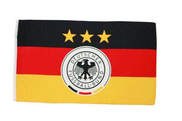 "GERMANY 3 STARS - DEUTSCHER FUSSBALL - BUND LOGO FIFA WORLD CUP COUNTRY HEAVY DUTY FLAG WITH SLEEVE WITHOUT STICK ..12"" X 18"" INCHES .. NEW AND IN A PACKAGE"