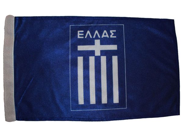 """GREECE HELLAS BLUE COUNTRY HEAVY DUTY FLAG WITH SLEEVE WITHOUT STICK .. 12"""" X 18"""" INCHES .. NEW AND IN A PACKAGE"""