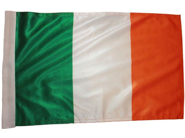 "IRELAND COUNTRY HEAVY DUTY FLAG WITH SLEEVE WITHOUT STICK .. 12"" X 18"" INCHES .. NEW AND IN A PACKAGE"