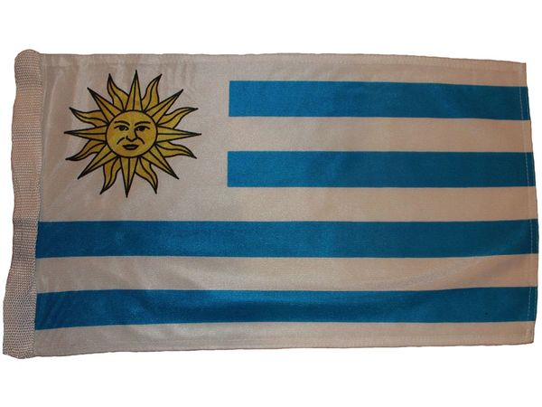 "URUGUAY COUNTRY HEAVY DUTY FLAG WITH SLEEVE WITHOUT STICK .. 12"" X 18"" INCHES .. NEW AND IN A PACKAGE"