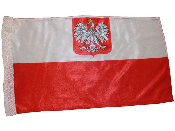 "POLAND WITH EAGLE COUNTRY HEAVY DUTY FLAG WITH SLEEVE WITHOUT STICK .. 12"" X 18"" INCHES .. NEW AND IN A PACKAGE"