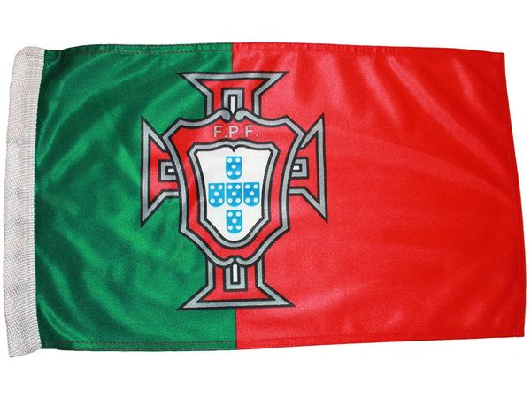 """PORTUGAL RED GREEN FPF LOGO FIFA WORLD CUP HEAVY DUTY FLAG WITH SLEEVE WITHOUT STICK ..12"""" X 18"""" INCHES .. NEW AND IN A PACKAGE"""
