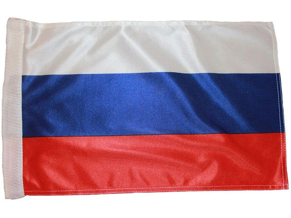 "RUSSIA COUNTRY HEAVY DUTY FLAG WITH SLEEVE WITHOUT STICK .. 12"" X 18"" INCHES .. NEW AND IN A PACKAGE"