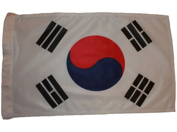 "SOUTH KOREA COUNTRY HEAVY DUTY FLAG WITH SLEEVE WITHOUT STICK .. 12"" X 18"" INCHES .. NEW AND IN A PACKAGE"