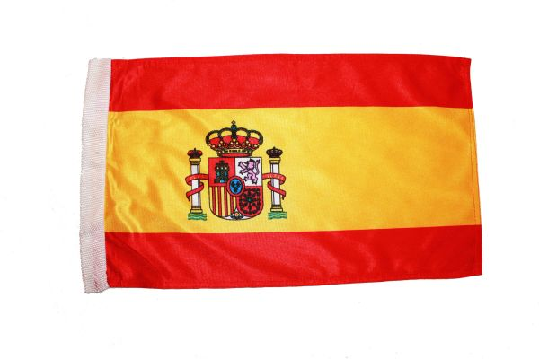 """SPAIN COUNTRY HEAVY DUTY FLAG WITH SLEEVE WITHOUT STICK .. 12"""" X 18"""" INCHES .. NEW AND IN A PACKAGE"""