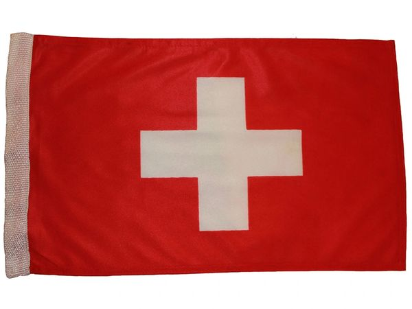"SWITZERLAND COUNTRY HEAVY DUTY FLAG WITH SLEEVE WITHOUT STICK .. 12"" X 18"" INCHES .. NEW AND IN A PACKAGE"
