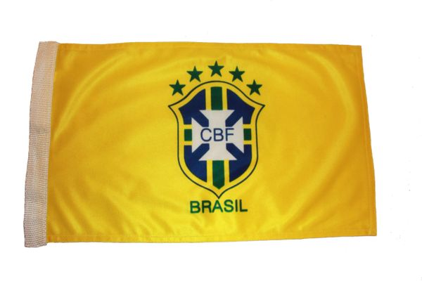 """BRASIL 5 STARS CBF LOGO FIFA WORLD CUP HEAVY DUTY FLAG WITH SLEEVE WITHOUT STICK .. 12"""" X 18"""" INCHES .. NEW AND IN A PACKAGE"""