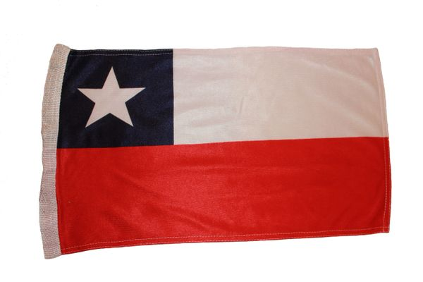 """CHILE COUNTRY HEAVY DUTY FLAG WITH SLEEVE WITHOUT STICK .. 12"""" X 18"""" INCHES .. NEW AND IN A PACKAGE"""