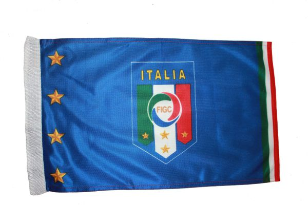 """ITALIA ITALY 4 STARS FIGC LOGO FIFA WORLD CUP HEAVY DUTY FLAG WITH SLEEVE WITHOUT STICK ..12"""" X 18"""" INCHES .. NEW AND IN A PACKAGE"""
