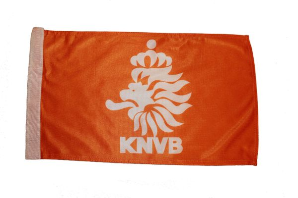 """NETHERLANDS KNVB LOGO FIFA WORLD CUP HEAVY DUTY FLAG WITH SLEEVE WITHOUT STICK .. 12"""" X 18"""" INCHES .. NEW AND IN A PACKAGE"""