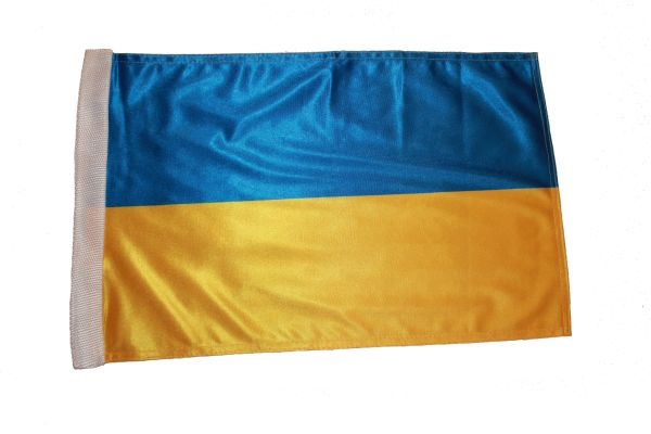 "UKRAINE COUNTRY HEAVY DUTY FLAG WITH SLEEVE WITHOUT STICK .. 12"" X 18"" INCHES .. NEW AND IN A PACKAGE"
