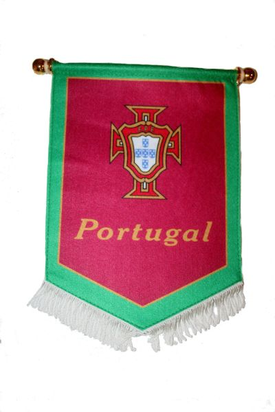 PORTUGAL GREEN RED FPF LOGO FIFA SOCCER WORLD CUP DOUBLE SIDED WALL MINI BANNER .. NEW AND IN A PACKAGE.