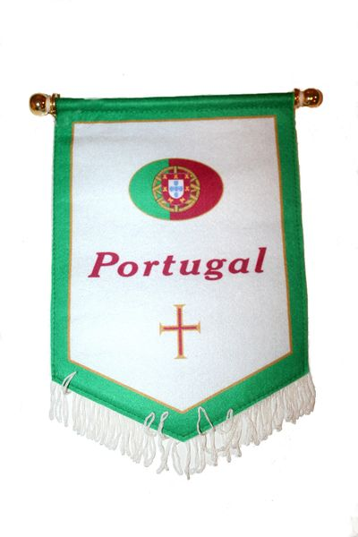 PORTUGAL WHITE GREEN COUNTRY DOUBLE SIDED WALL MINI BANNER .. NEW AND IN A PACKAGE.