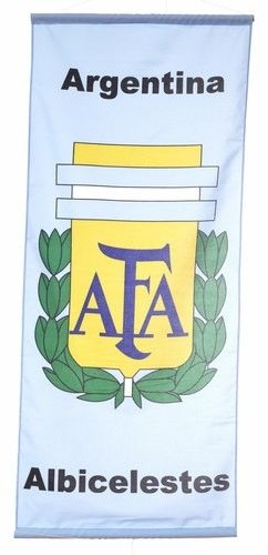 """ARGENTINA """"ALBICELESTES"""" , 5 STARS 46"""" X 20"""" INCHES AFA LOGO FIFA SOCCER WORLD CUP FLAG BANNER .. NEW AND IN A PACKAGE"""