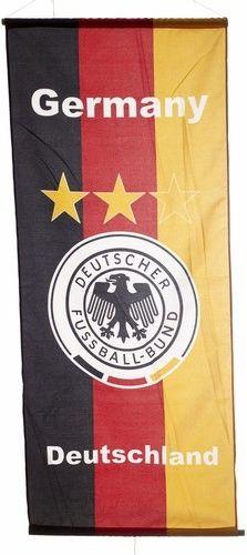 """GERMANY DEUTSCHLAND 46"""" X 20"""" INCHES DEUTSCHER FUSSBALL - BUND LOGO FIFA SOCCER WORLD CUP FLAG BANNER .. NEW AND IN A PACKAGE"""