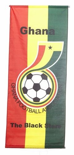 """GHANA """"GHANA FOOTBALL ASSOCIATION"""" 46"""" X 20"""" INCHES FIFA SOCCER WORLD CUP FLAG BANNER .. NEW AND IN A PACKAGE"""