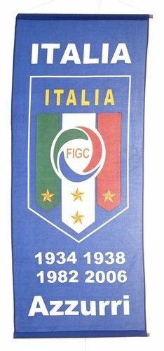 "ITALIA ITALY ""AZZURRI"" BLUE 46"" X 20"" INCHES FIGC LOGO FIFA SOCCER WORLD CUP FLAG BANNER .. NEW AND IN A PACKAGE"