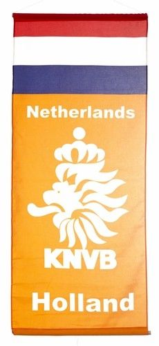 """NETHERLANDS HOLLAND COUNTRY FLAG 46"""" X 20"""" INCHES KNVB LOGO FIFA SOCCER WORLD CUP FLAG BANNER .. NEW AND IN A PACKAGE .. NEW AND IN A PACKAGE"""