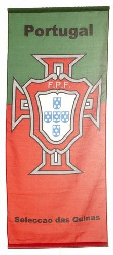 """PORTUGAL GREEN RED 46"""" X 20"""" INCHES FPF LOGO FIFA SOCCER WORLD CUP FLAG BANNER .. NEW AND IN A PACKAGE"""