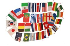 BRASIL 2014 SET OF 32 STRING LARGE COUNTRY FLAG BUNTING .. NEW AND IN A PACKAGE