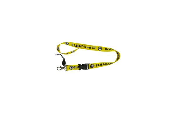 """ELBASANI"" YELLOW BACKGROUND SOCCER LANYARD KEYCHAIN PASSHOLDER NECKSTRAP .. CLASP AT THE END .. 24"" INCHES LONG .. CLASP AT THE END .. 24"" INCHES LONG .. HIGH QUALITY .. NEW AND IN A PACKAGE"