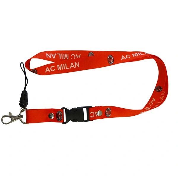 "AC MILAN LOGO SOCCER LANYARD KEYCHAIN PASSHOLDER NECKSTRAP .. CLASP AT THE END .. 24"" INCHES LONG .. HIGH QUALITY .. NEW AND IN A PACKAGE"