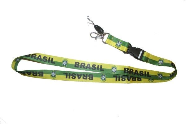 "BRASIL 5 STARS CBF LOGO FIFA SOCCER WORLD CUP LANYARD KEYCHAIN PASSHOLDER NECKSTRAP .. CLASP AT THE END .. 24"" INCHES LONG .. HIGH QUALITY .. NEW AND IN A PACKAGE"