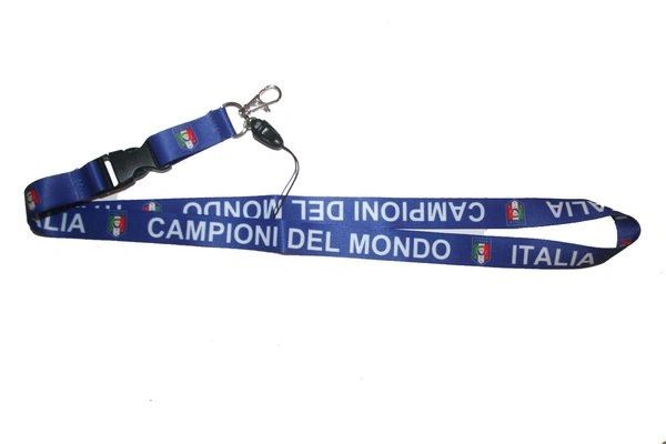 "CAMPIONI DEL MONDO ITALIA FIGC LOGO FIFA SOCCER WORLD CUP LANYARD KEYCHAIN PASSHOLDER NECKSTRAP .. CLASP AT THE END .. 24"" INCHES LONG .. HIGH QUALITY .. NEW AND IN A PACKAGE"