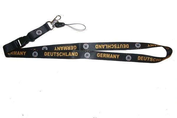 """DEUTSCHLAND GERMANY BLACK BACKGROUND DEUTSCHER FUSSBALL - BUND LOGO FIFA SOCCER WORLD CUP LANYARD KEYCHAIN PASSHOLDER NECKSTRAP .. CLASP AT THE END .. 24"""" INCHES LONG .. HIGH QUALITY .. NEW AND IN A PACKAGE"""