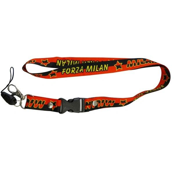 "FORZA MILAN. LOGO SOCCER LANYARD KEYCHAIN PASSHOLDER NECKSTRAP .. CLASP AT THE END .. 24"" INCHES LONG .. HIGH QUALITY .. NEW AND IN A PACKAGE"