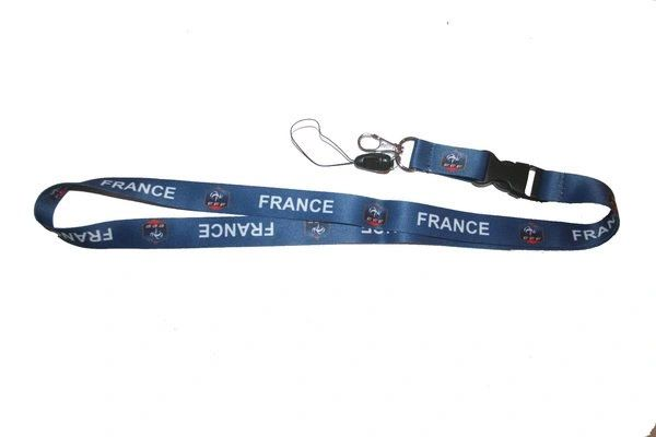 """FRANCE BLUE BACKGROUND FFF LOGO FIFA SOCCER WORLD CUP LANYARD KEYCHAIN PASSHOLDER NECKSTRAP .. CLASP AT THE END .. 24"""" INCHES LONG .. HIGH QUALITY .. NEW AND IN A PACKAGE"""